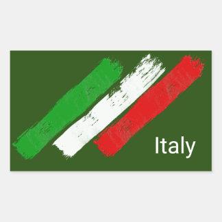 Flag of Italy.brush strokes. Rectangular Sticker