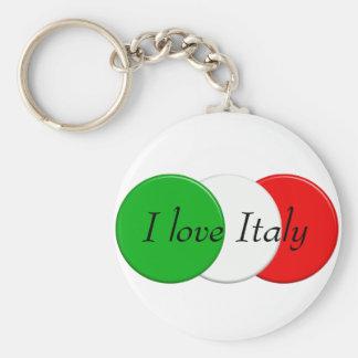 Flag of Italy. I love Italy. text. Keychain