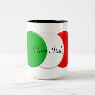 Flag of italy. I love Italy. Two-Tone Coffee Mug