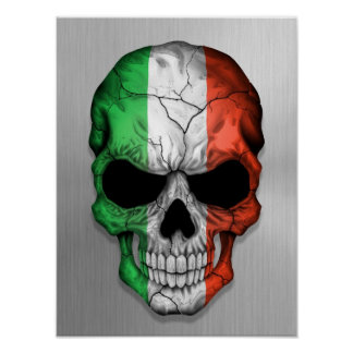 Flag of Italy on a Steel Skull Graphic Poster