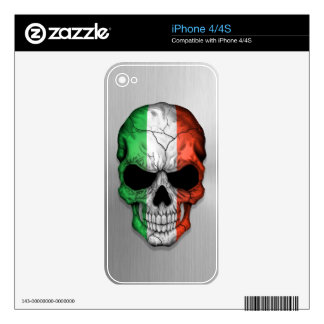 Flag of Italy on a Steel Skull Graphic Skin For The iPhone 4