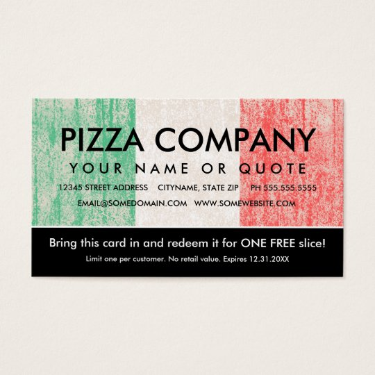 Flag of italy pizza coupon business card zazzle for Zazzle business card coupon