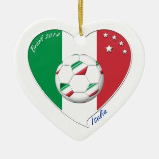 Flag of ITALY SOCCER of national heart 2014 Ceramic Ornament
