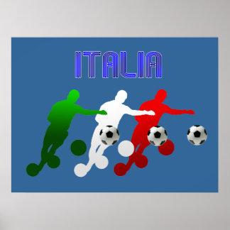 Flag of Italy Soccer Players Italia Calcio Sports Poster