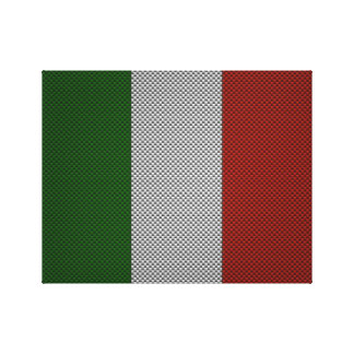 Flag of Italy with Carbon Fiber Effect Gallery Wrap Canvas