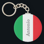 "Flag of Italy with name Keychain<br><div class=""desc"">The colors of the Italian flag,  green,  white and red in veritcal stripes. Personalize and add your name,  black colored letters.</div>"