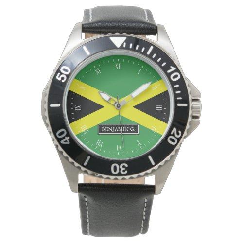 Flag of Jamaica Custom Name Wrist Watch
