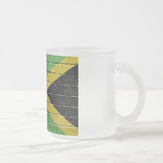 Flag of Jamaica Frosted Glass Coffee Mug