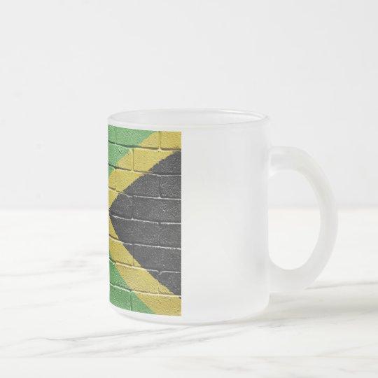 Flag of Jamaica Frosted Glass Coffee Mug
