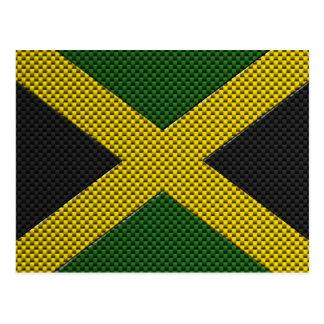Flag of Jamaica with Carbon Fiber Effect Postcard