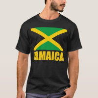 Flag Of Jamaica Yellow Text Black T-Shirt