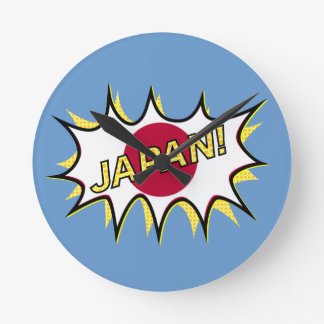 Flag Of Japan Kapow Comic Style Star Round Wallclock