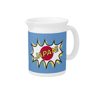 Flag Of Japan Kapow Comic Style Star Beverage Pitchers