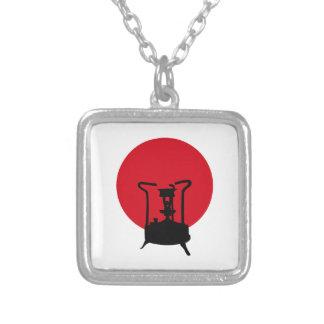 Flag of Japan | Vintage Pressure Stove Silver Plated Necklace