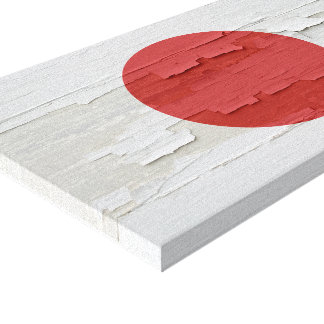 Flag of Japan Weathered Paint Canvas Print