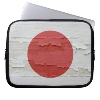 Flag of Japan Weathered Paint Laptop Sleeve