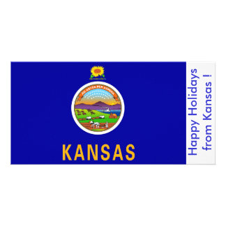 Flag of Kansas Happy Holidays from U S A Personalized Photo Card