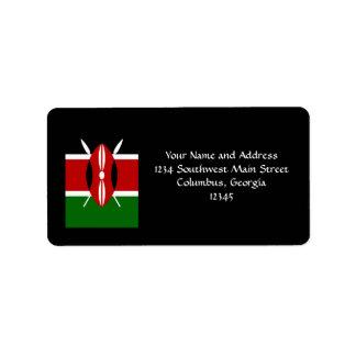 Flag of Kenya Africa Label