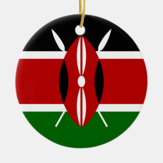 Flag of Kenya Africa Double-Sided Ceramic Round Christmas Ornament