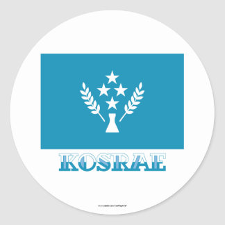 Flag of Kosrae, with name Classic Round Sticker