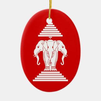 Flag of Laos (1952-1975) - ທຸງຊາດລາວ Ceramic Ornament