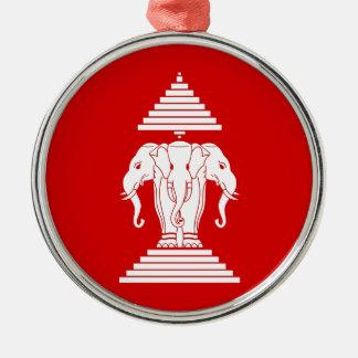 Flag of Laos (1952-1975) - ທຸງຊາດລາວ Metal Ornament