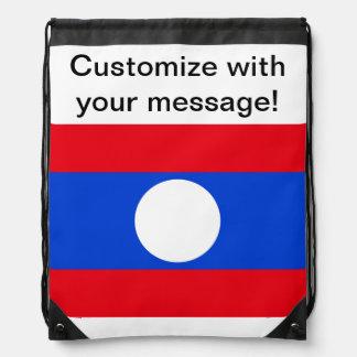 Flag of Laos Drawstring Bags
