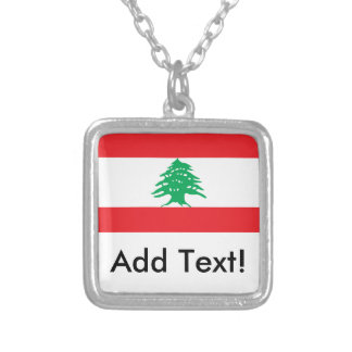 Flag of Lebanon Silver Plated Necklace