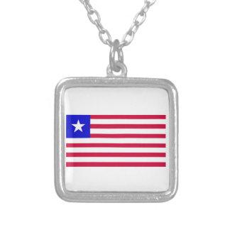 Flag of Liberia Square Pendant Necklace