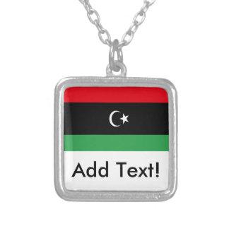 Flag of Libya Square Pendant Necklace