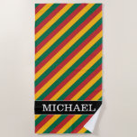 [ Thumbnail: Flag of Lithuania Inspired Colored Stripes Pattern Beach Towel ]