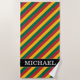 Flag of Lithuania Inspired Colored Stripes Pattern Beach Towel