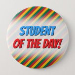 [ Thumbnail: Flag of Lithuania Inspired Colored Stripes Pattern Button ]