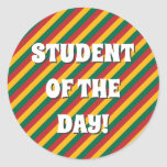 [ Thumbnail: Flag of Lithuania Inspired Colored Stripes Pattern Round Sticker ]