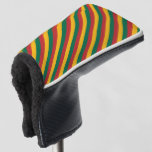 [ Thumbnail: Flag of Lithuania Inspired Colored Stripes Pattern Golf Head Cover ]