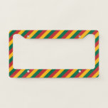 [ Thumbnail: Flag of Lithuania Inspired Colored Stripes Pattern License Plate Frame ]