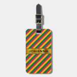 [ Thumbnail: Flag of Lithuania Inspired Colored Stripes Pattern Luggage Tag ]