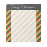 [ Thumbnail: Flag of Lithuania Inspired Colored Stripes Pattern Notepad ]