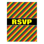 [ Thumbnail: Flag of Lithuania Inspired Colored Stripes Pattern Postcard ]