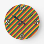 [ Thumbnail: Flag of Lithuania Inspired Colored Stripes Pattern Round Clock ]