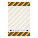 [ Thumbnail: Flag of Lithuania Inspired Colored Stripes Pattern Stationery ]