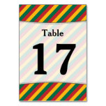 [ Thumbnail: Flag of Lithuania Inspired Colored Stripes Pattern Table Number ]