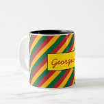 [ Thumbnail: Flag of Lithuania Inspired Colored Stripes Pattern Coffee Mug ]