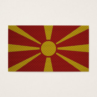 Flag of Macedonia with Carbon Fiber Effect Business Card