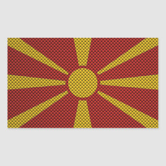 Flag of Macedonia with Carbon Fiber Effect Rectangular Sticker