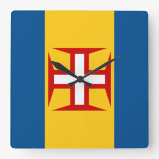 Flag of Madeira Square Wall Clock