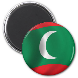 Flag of Maledives waving in the wind 2 Inch Round Magnet
