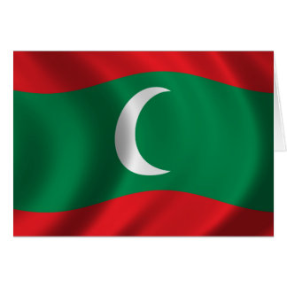 Flag of Maledives waving in the wind Card