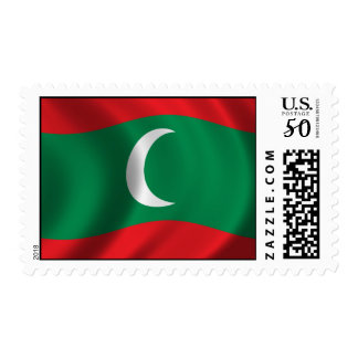 Flag of Maledives waving in the wind Postage