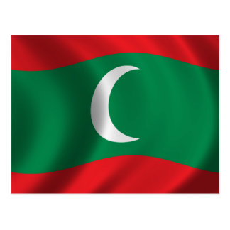 Flag of Maledives waving in the wind Postcard
